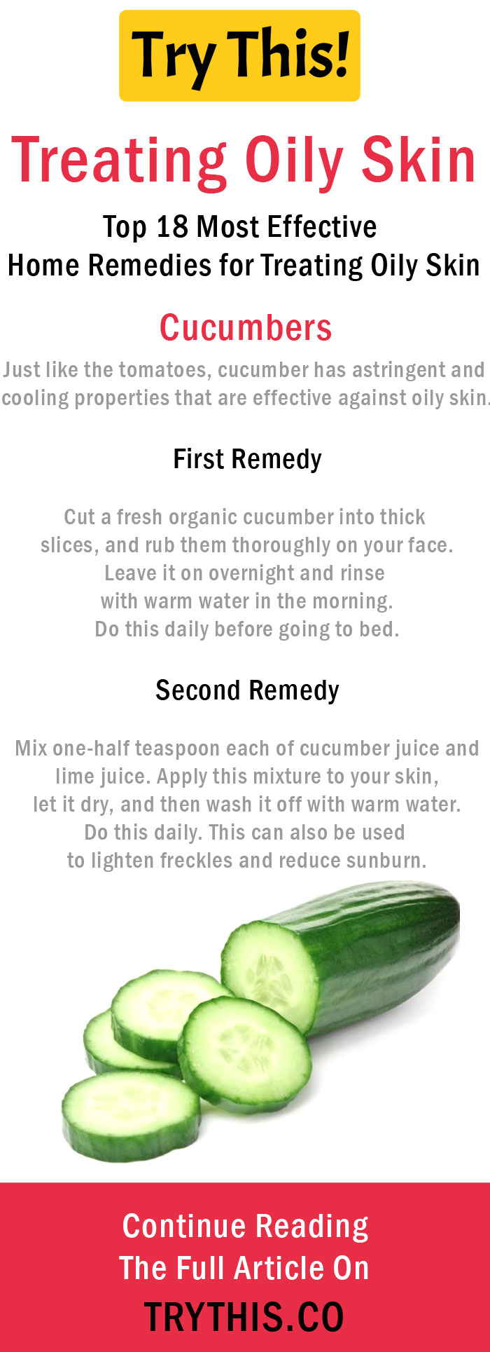 Home Remedies for Treating Oily Skin - Cucumbers