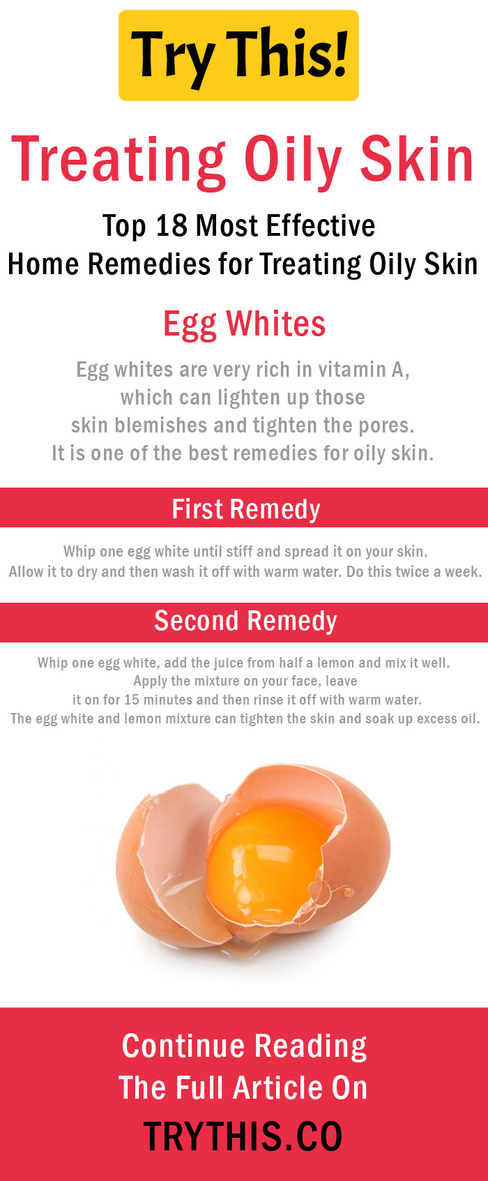Home Remedies for Treating Oily Skin - Egg Whites