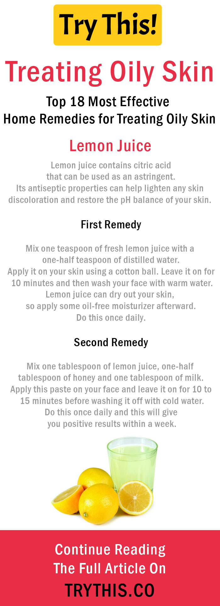Home Remedies for Treating Oily Skin - Lemon Juice