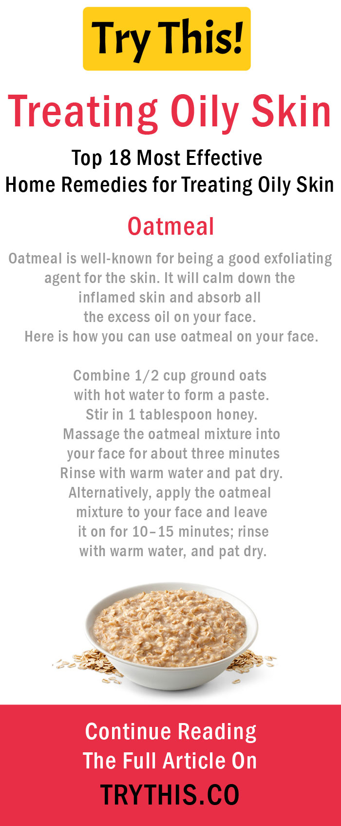 Home Remedies for Treating Oily Skin - Oatmeal